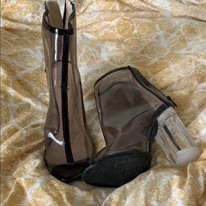 Qupid clear heel pumps